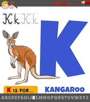 Letter k uit alfabet met cartoon kangoeroe dier