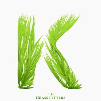 Letter k van sappig gras alfabet