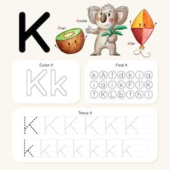 Letter k-werkblad met koala, kiwi, vlieger