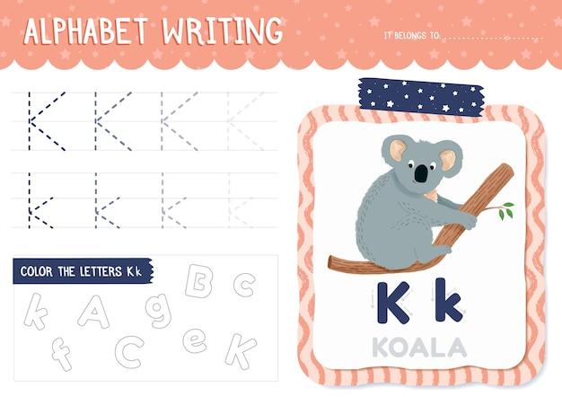 Letter k-werkblad met koala