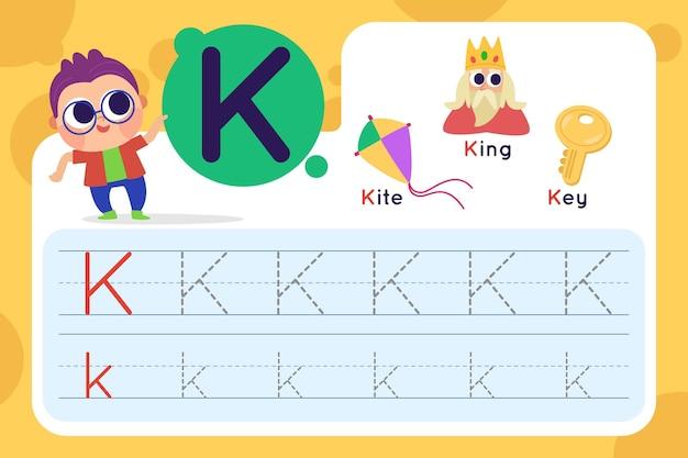 Letter k-werkblad met vlieger en koning