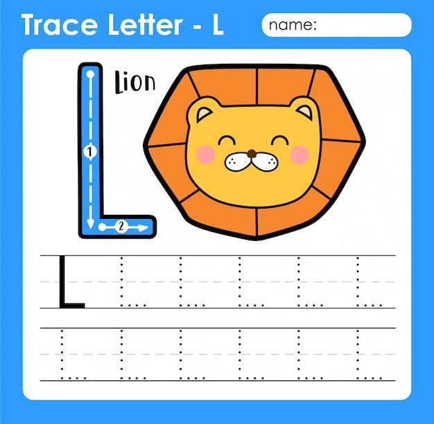 Letter l hoofdletters - alfabetletters overtrek werkblad met leeuw