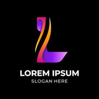 Letter l-logo-ontwerp met 3d-kleurrijke stijl