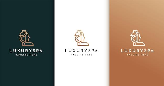 Letter l-logo-ontwerp met het gezicht van de vrouw