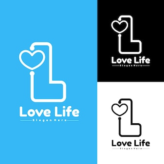 Letter l love logo eenvoudig geschikt voor het logo van een kliniekziekenhuis of medisch hulpmiddel