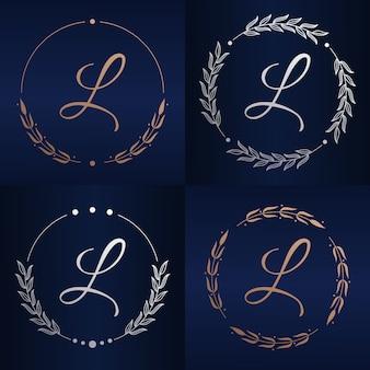 Letter l met bloemenframe logo sjabloon