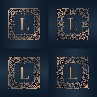 Letter l met luxe ornament bloemen frame