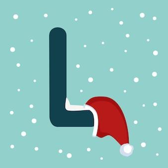 Letter l met sneeuw en rode kerstman hoed. feestelijk lettertype voor kerstmis en nieuwjaar