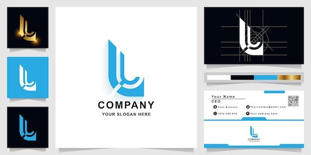 Letter l of ll monogram logo sjabloon met visitekaartje ontwerp