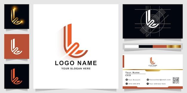 Letter l of t monogram logo sjabloon met visitekaartje ontwerp