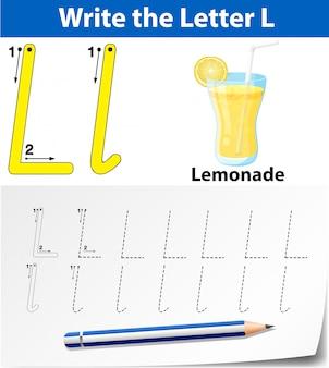 Letter l tracing alfabet werkbladen