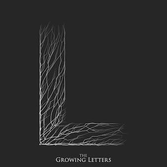Letter l van tak of gebarsten alfabet.