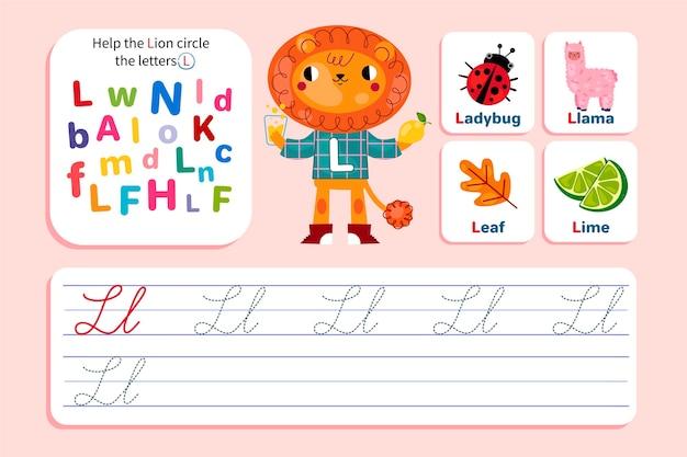 Letter l-werkblad met leeuw