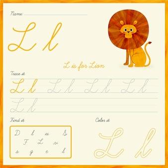 Letter l-werkblad met leeuwillustratie Gratis Vector