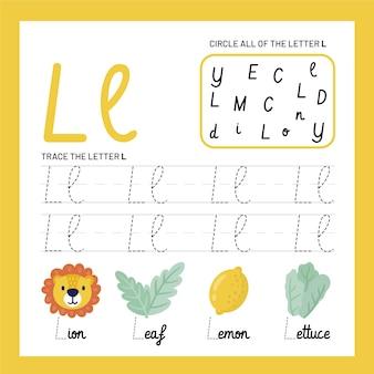 Letter l-werkbladsjabloon