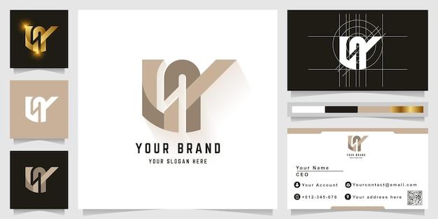 Letter ly of ny monogram logo met visitekaartje ontwerp