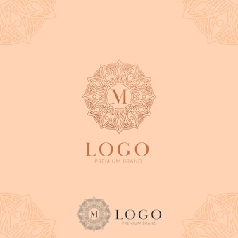 Letter m abstracte bloem mandala logo pictogram