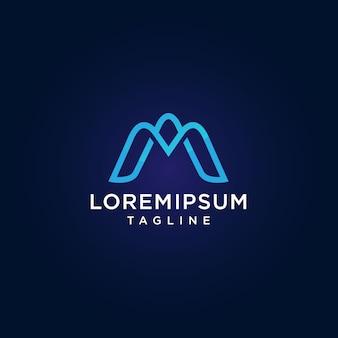 Letter m. eenvoudig en minimalistisch logo-ontwerp in blauwe kleur