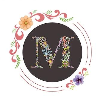 Letter m eerste met florale vector