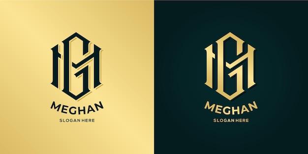 Letter m en g logo decoratieve stijl