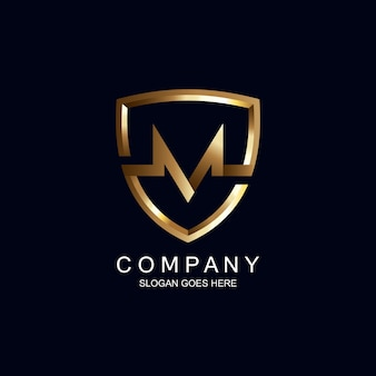 Letter m en schild logo