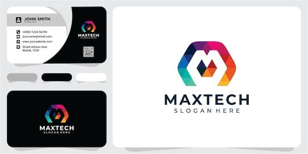 Letter m geometrische logo ontwerpconcept geometrische m kleurrijke logo ontwerp inspiratie