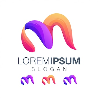 Letter m gradiëntkleur logo ontwerp