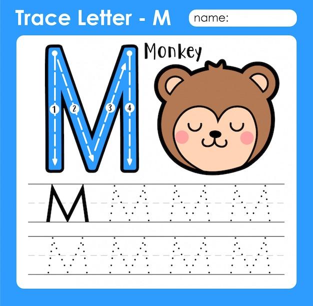Letter m hoofdletters - alfabetletters overtrekken werkblad met monkey