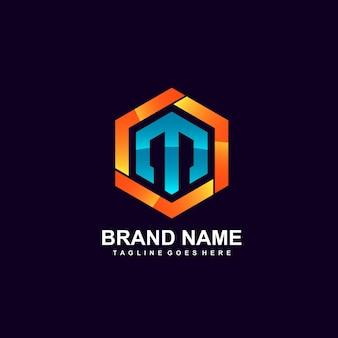Letter m in zeshoekig logo-ontwerp