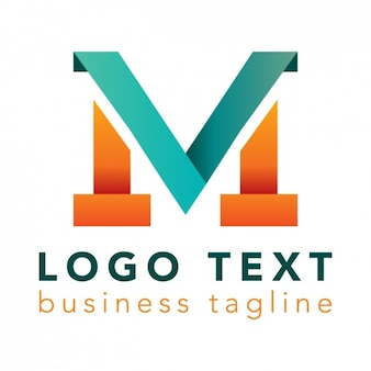 Letter m logo, heldere kleuren