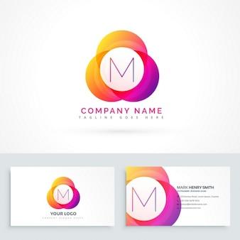 Letter m logo met visitekaartje sjabloon