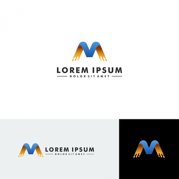 Letter m logo technologie pictogram ontwerp vector
