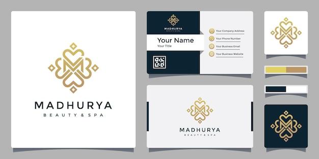 Letter m-logo voor beauty & spa met sjabloon voor visitekaartjes