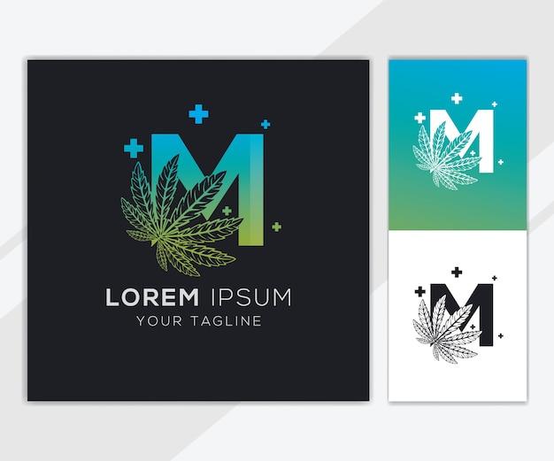 Letter m met abstracte cannabis logo sjabloon