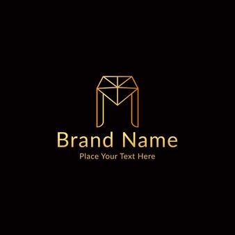 Letter m modern luxe logo met diamant Premium Vector