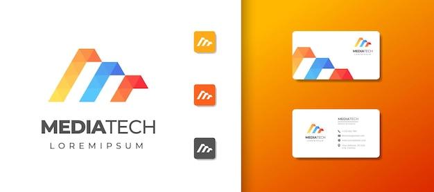 Letter m monogram logo ontwerpsjabloon met visitekaartje ontwerp