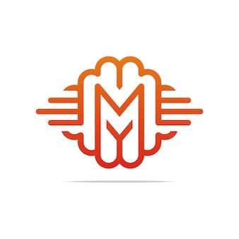 Letter m monoline