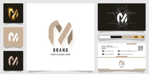 Letter m of rn monogram logo met visitekaartje ontwerp