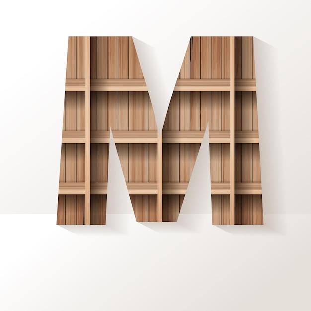 Letter m-ontwerp van houten plank