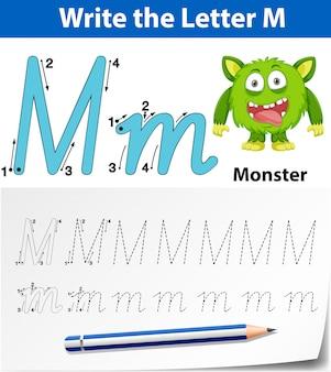 Letter m traceren alfabet werkbladen