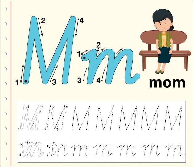 Letter m tracing alfabet werkblad