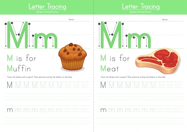 Letter m tracing food alphabet