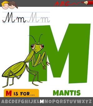 Letter m uit alfabet met cartoon bidsprinkhaaninsect