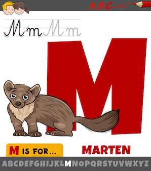 Letter m uit alfabet met cartoon marter dier