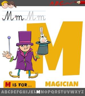 Letter m uit alfabet met goochelaar stripfiguur