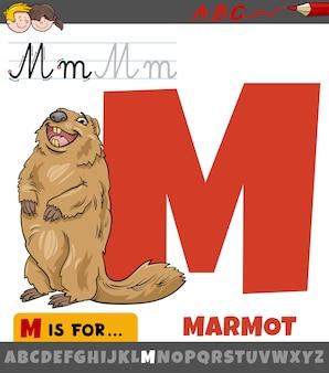 Letter m uit alfabet met marmot dierlijk stripfiguur