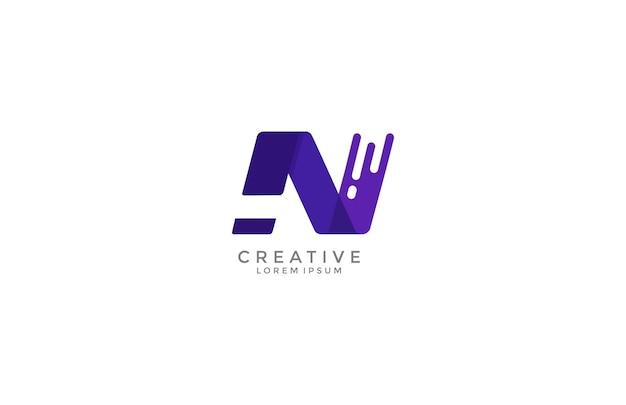 Letter n dynamisch paars kleur modern logo