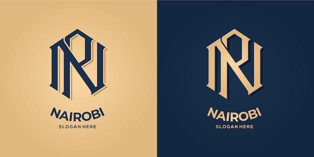 Letter n en r logo decoratieve stijl