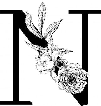 Letter n, floral alfabet
