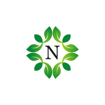 Letter n floral monogram logo